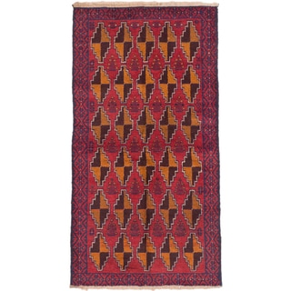 eCarpetGallery Red Wool Hand-knotted Baluch Rug (3'6 x 6'5)