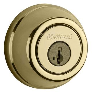 Kwikset 910 Signature Series Single-Cylinder Traditional Lifetime Polished Brass Deadbolt with Home Connect Technology