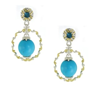 One-of-a-kind Michael Valitutti Sleeping Beauty Turquoise and London Blue Topaz Dangling Earrings