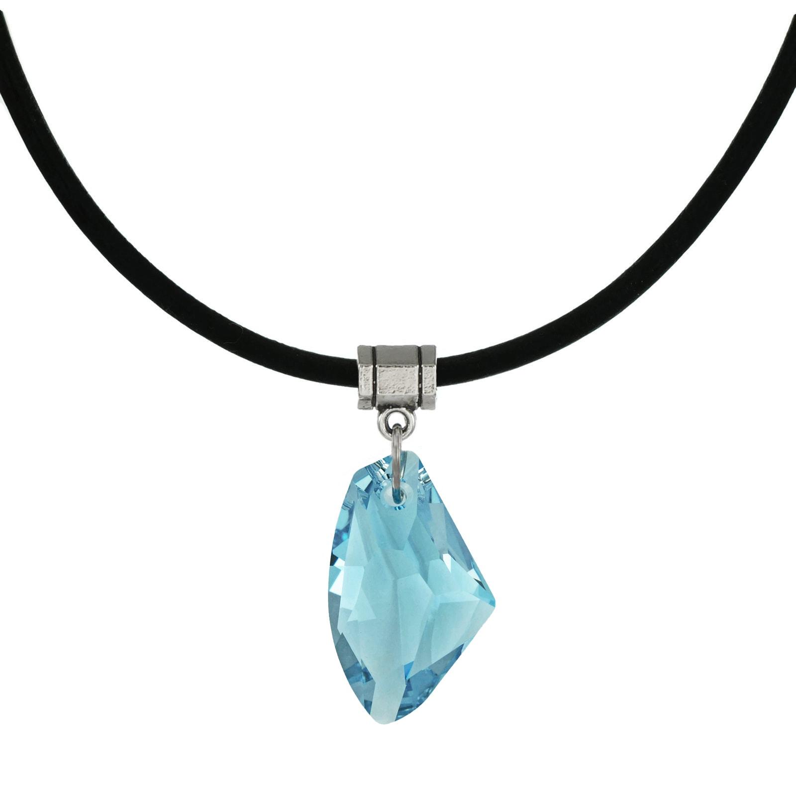 on Black Cord March Aquamarine Crystal Heart Birthstone Pewter Pendant
