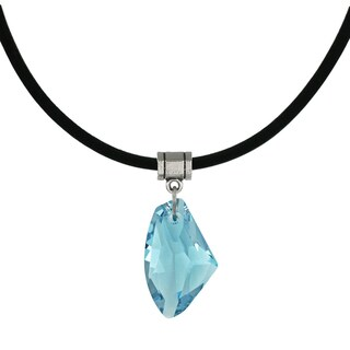 Handmade Jewelry by Dawn Aquamarine Blue Crystal Galactic Leather Cord Necklace (USA)