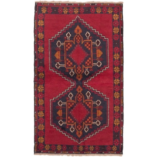 eCarpetGallery Hand-knotted Kazak Blue/ Red Wool Oriental Area Rug (3'7 x 6'2)