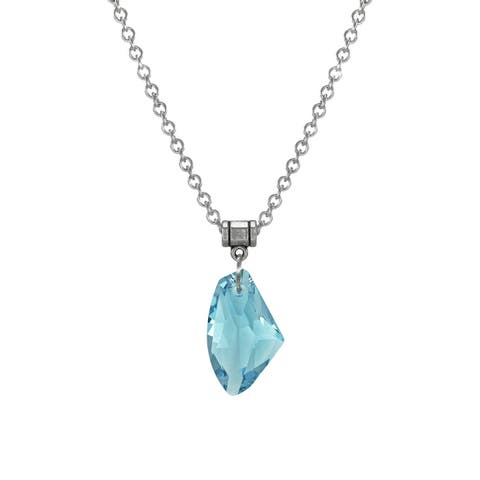 Handmade Jewelry by Dawn Large Aquamarine Blue Crystal Galactic Stainless Steel Chain Necklace (USA)