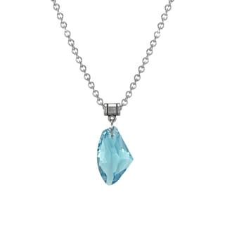 Jewelry by Dawn Large Aquamarine Blue Crystal Galactic Stainless Steel Chain Necklace