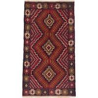 ecarpetgallery Hand-Knotted Kazak Black, Red  Wool Rug (3'4 x 6'0)