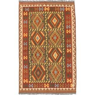 eCarpetGallery Hand-woven Istanbul Yama Green, Orange Wool Kilim Rug (4'3 x 6'8)