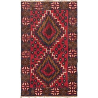 eCarpetGallery Kazak Blue/Red Wool Hand-knotted Rug (3'7 x 5'10)