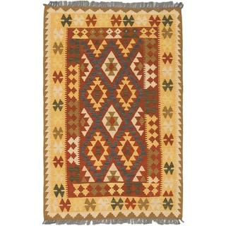 ecarpetgallery Hand-Woven Izmir Kilim Brown, Yellow  Wool Kilim (3'4 x 5'1)