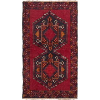 eCarpetGallery Kazak Black, Red Wool Hand-knotted Rug (3'7 x 6'3)