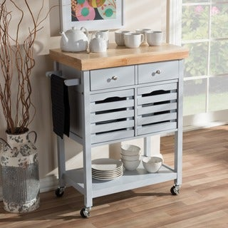 Baxton Studio Mneme Modern and Contemporary Light Grey Finished Wheeled Kitchen Cart with Butcher Top