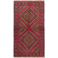 eCarpetGallery Blue/Red Wool Hand-knotted Kazak Rug (3'5 x 6'0)