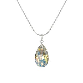 Jewelry by Dawn Large Aurora Borealis Crystal Pear Sterling Silver Snake Chain Necklace