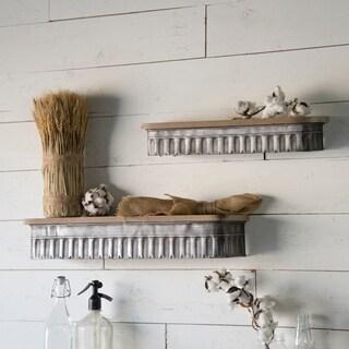 Brown Wood/Metal Shelf (Set of 2)