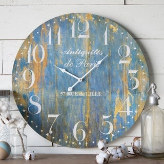 Distressed Blue Wood 23-inch Wall Clock