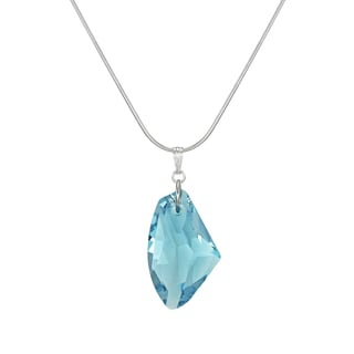 Jewelry by Dawn Large Aquamarine Blue Crystal Galactic Sterling Silver Snake Chain Necklace