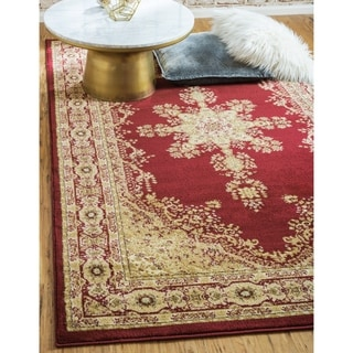 Isfahan Abstract Red Machine-made Rug (3' 2 x 5' 2)