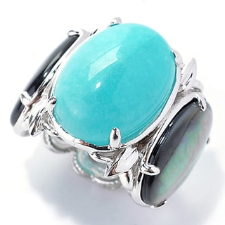 One-of-a-kind Michael Valitutti Amazonite and Black Mother Of Pearl Three Stone Cocktail Ring