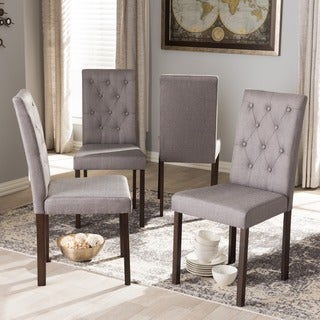Baxton Studio Melissa Modern and Contemporary Dark Brown Finished and Fabric Upholstered 4-Pieces Dining Chair Set