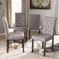 Gracewood Hollow Forman Contemporary Dark Brown Finished and Fabric Upholstered 4-piece Dining Chairs
