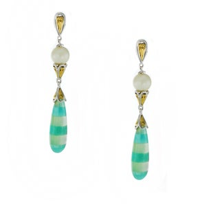 One-of-a-kind Michael Valitutti Amazonite with Mother of Pearl Inlay Drop Earrings with White Pearl