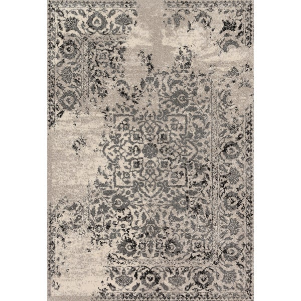 Traditional Ivory/ Grey Floral Distressed Rug - 9'2 x 12'7