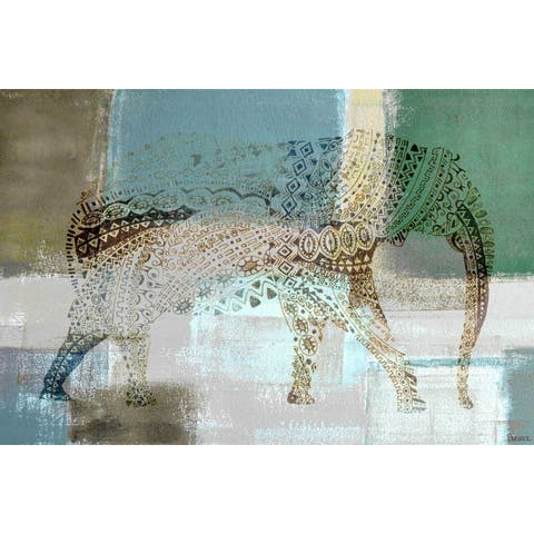 Handmade Parvez Taj - Jeweled Elephant Print on Wrapped Canvas