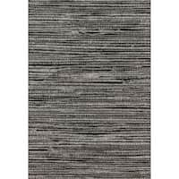 "Abstract Transitional Grey/ Black Stripe Rug - 9'2"" x 12'7"""