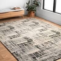 Abstract Modern Grey/ Black Rug - 9'2 x 12'7