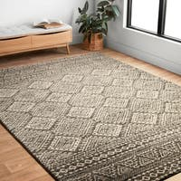 "Transitional Grey/ Ivory Moroccan Geometric Rug - 9'2"" x 12'7"""