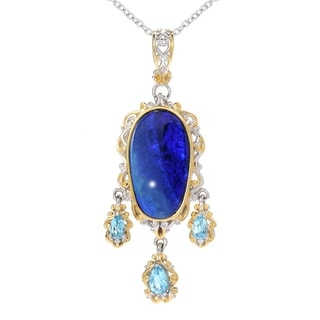 One-of-a-kind Michael Valitutti Black Opal Doublet and Swiss Blue Topaz Pendant