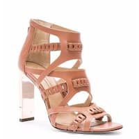 BCBG Max Azria Dorie Deep Sand High Metal Heel Open Toe Sandals Cutout Bootie