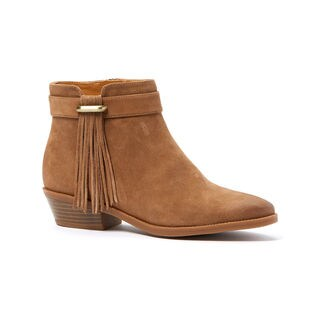 Nine West Willito Chelsea Distressed Tan Suede Fringed Ankle Booties