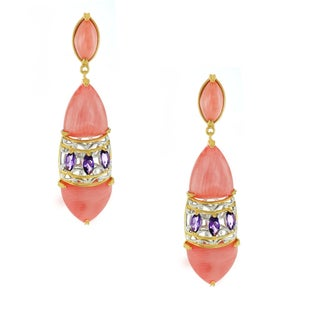 One-of-a-kind Michael Valitutti Salmon Bamboo Coral and African Amethyst Earrings