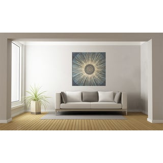 Urban Designs 'Blues Sunburst' Multicolored Metal/ Canvas Wall Art