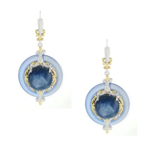 One-of-a-kind Michael Valitutti Blue Agate Donut with Kyanite Center Leverback Earrings