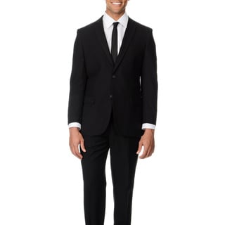 Caravelli Italy Men's Slim Fit Black 2-button Notch Lapel Suit 38R/ 32W in Black (As Is Item)