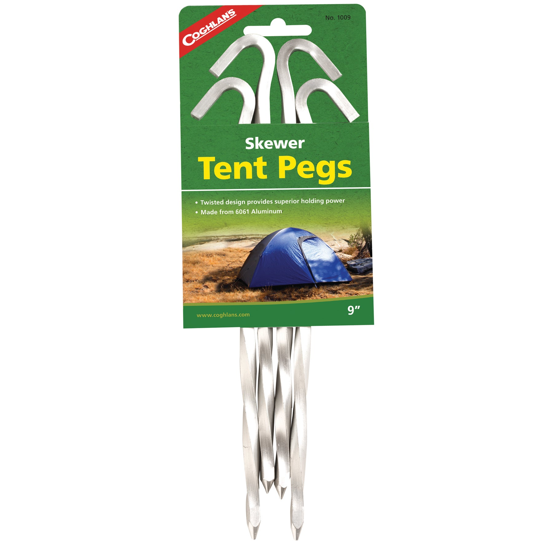 """Coghlans 1009 9"""" Tent Pegs 4-count (Pegs), Silver aluminum"""