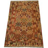 Handmade Herat Oriental Afghan Vegetable Dye Tribal Wool Mimana Kilim (Afghanistan) - 6'8 x 9'11