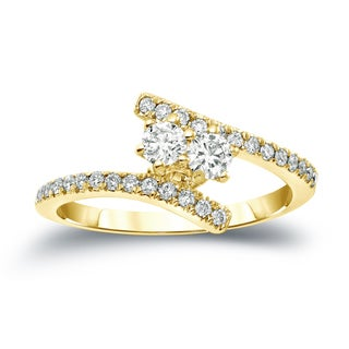Auriya 14k Gold 3/4ct TDW 2-Stone Round Cut Diamond Engagement Ring (J-K, I1-I2)