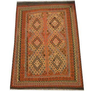 Herat Oriental Afghan Hand-woven Vegetable Dye Tribal Wool Mimana Kilim (6'5 x 9'1)