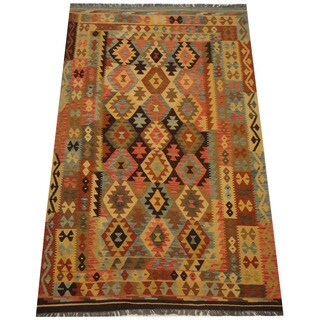 Herat Oriental Afghan Hand-woven Vegetable Dye Tribal Wool Mimana Kilim (6'2 x 9'8)