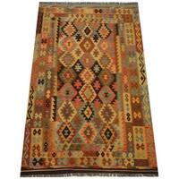 Herat Oriental Afghan Hand-woven Vegetable Dye Tribal Wool Mimana Kilim (6'2 x 9'8)