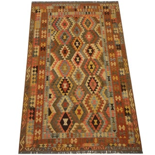 Herat Oriental Afghan Hand-woven Vegetable Dye Tribal Wool Mimana Kilim (6'7 x 10'3)