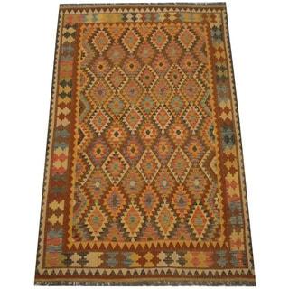 Herat Oriental Afghan Hand-woven Vegetable Dye Tribal Wool Mimana Kilim (6'3 x 9'7)