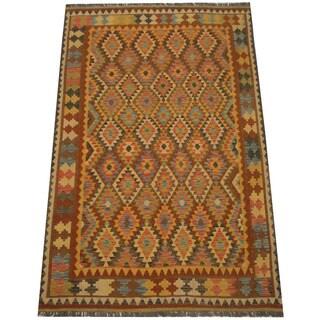 Herat Oriental Afghan Hand-woven Tribal Vegetable Dye Mimana Kilim (6'3 x 9'7)