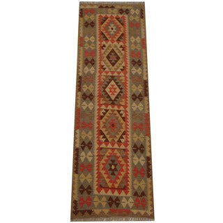 Herat Oriental Afghan Hand-woven Tribal Vegetable Dye Mimana Kilim Runner (2'8 x 8'3)