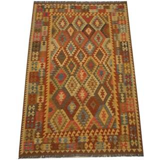 Herat Oriental Afghan Hand-woven Vegetable Dye Tribal Wool Mimana Kilim (6'6 x 9'9)