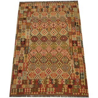 Herat Oriental Afghan Hand-woven Vegetable Dye Tribal Wool Mimana Kilim (6'8 x 9'11)