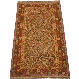 Herat Oriental Afghan Hand-woven Vegetable Dye Tribal Wool Mimana Kilim (6'3 x 10'2)