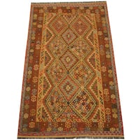 Herat Oriental Afghan Hand-woven Vegetable Dye Tribal Wool Mimana Kilim (6'3 x 10'2) - 6'3 x 10'2